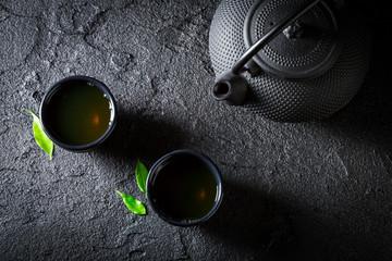 Closeup of healthy green tea in Asian restaurant