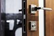 door handle and latch of brass on veneer doors