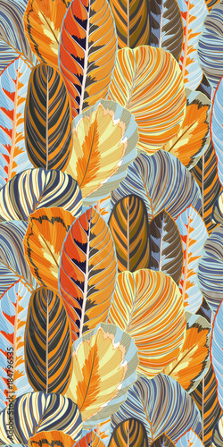 Yellow Orange Jungle Leaf Seamless Vector Pattern - 184796535