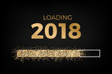 Loading 2018 - loading bar with sparkling stars - counting to 2018
