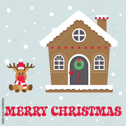 Fotobehang Hipster Hert christmas cute house with cartoon christmas deer and text