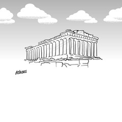 Athens, Greece famous temple sketch