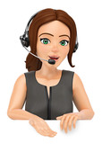 3D Call center operator with headphones pointing down - 184808369