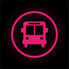 Neon Button rund - Schulbus