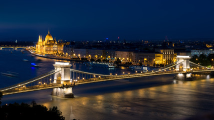 The bridge and parliament in Budapest