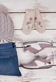 Pair of pale pink sneakers - 184816360
