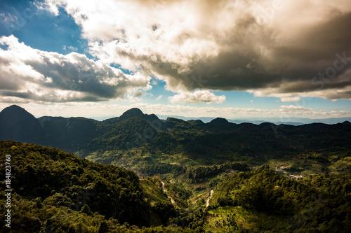 Aluminium Thailand Mountain scenery, sky and clouds. Photo taken from Doi Ang Khang, Chiang Mai, Thailand