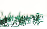 Many Green Army Plastic Toy Soldiers Organized On Top Of A  Surface And    Out Of Focus Plastic Soldiers In The  Wall Sticker