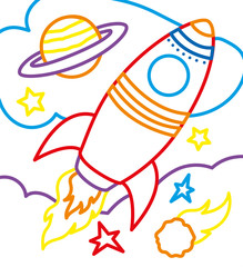 Coloring Book Of Rocket On Cosmic