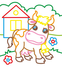 Coloring Book Of Cow On Farm