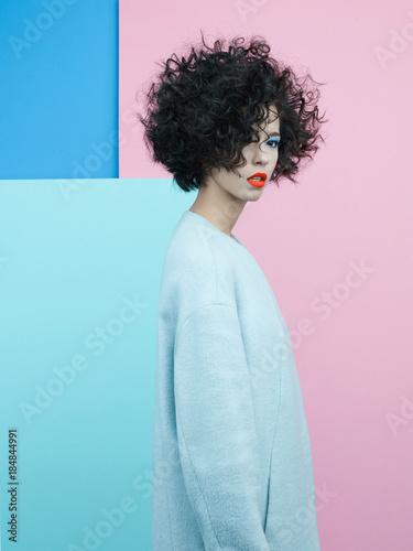 Papiers peints womenART Fashion portrait of beautiful asian woman in sky-blue coat