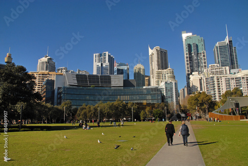Foto op Plexiglas Sydney Tumbalong Park at Darling Harbour with view of CBD