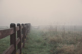 Deep fog in the morning on the farm in Seattle