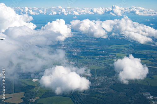 blue sky with the clouds from the plane view - 184850958