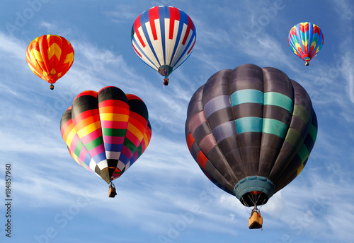 Looking Up at Ascending Hot Air Balloons