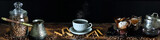 Panorama still life with coffee and dining accessories