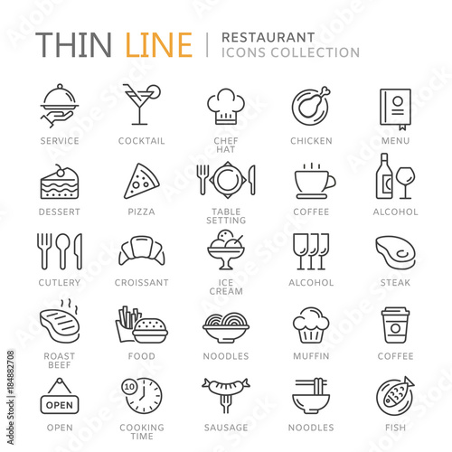 Collection of restaurant thin line icons © Skellen