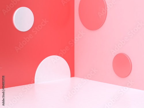 abstract pink white circle geometric wall floor corner background 3d rendering