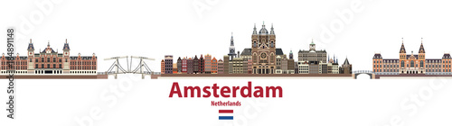 vector city skyline of Amsterdam. Flag of Netherlands