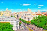 View above on Gran Via Street in Madrid, at day time, traffic, car on Gran Via street, main shopping and  financial street in capital of Spain. - 184893141