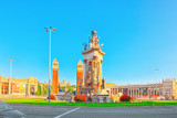 Panorama  Square of Spain (Placa De Espanya),in Barcelona - capital of the autonomy of Catalonia. Spain. - 184893387