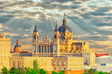 Panorama view on Royal Palace (Palacio Real) in the capital of Spain - beautiful city Madrid from a bird's eye view. - 184893940