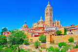 Panoramic landscape at the ancient city and cathedral of Segovia, near Madrid. Spain. - 184893946