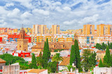 Panoramic view of the city of Seville from the observation platform Metropol Parasol, locally also known as Las Setas. - 184893999