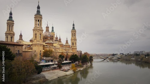 Basilica - Cathedral of Our Lady of the pilar and Ebro River in Zaragoza, Spain. It's a Roman Catholic Church.