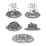 Italian cuisine, vector outline icons - 184907721