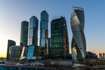 Moscow, Russia - November 2. 2017. Business center of Moscow City at sunset