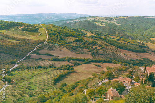 Deurstickers Toscane Tuscany hills with road. Italy