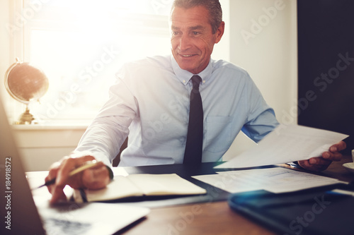 Smiling mature executive working at his desk in an office