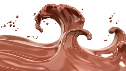 Splash chocolate isolated 3d rendering