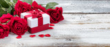 Red Roses and Gift for Valentines - 184925796