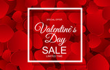 Valentines Day Sale Card with Frame. Vector Illustration - 184953323