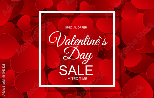 Valentines Day Sale Card with Frame. Vector Illustration