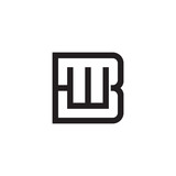 Initial letter B and W, BW, WB, overlapping W inside B, line art logo, black monogram color - 184962152