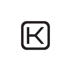 Initial letter O and K, OK, KO, overlapping K inside O, line art logo, black monogram color