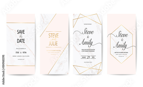 wedding invitation card with marble - 184968398