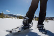 Snowshoeing for exercise in Colorado on a Bright Blue Sky Day