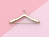 pink background gold cloth hanger 3d rendering - 184968933