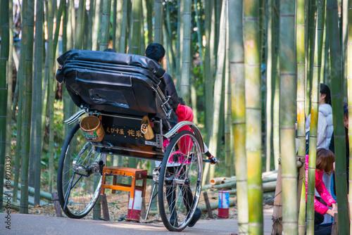 Papiers peints Kyoto Tourists are enjoy traveling by rickshaw service at bamboo forest of Arashiyama, Kyoto