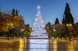 Lit Christmas tree in Syntagma square in Athens, Greece.