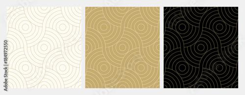 Deseniowy bezszwowego okręgu abstrakta fala tła lampasa złocisty luksusowy kolor i linia. Wektor linii geometrycznej. Boże Narodzenie w tle.