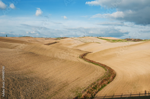 Poster Toscane Panoramic view of tuscan countryside landscape and rolling hills, Tuscany, Italy
