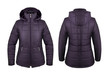 Violet down jacket with hood front and back isolated on white