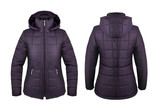 Violet down jacket with hood front and back isolated on white - 184986133