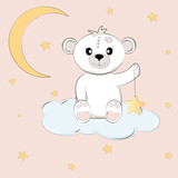 Cute teddy bear on the cloud holds the star. - 184991332