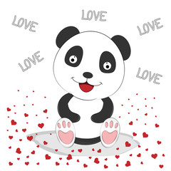 Cute Panda with Red Hearts. Greeting card.